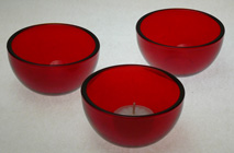red glass tea light holder cup