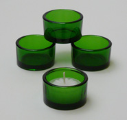 tea light holder, event green glass cup