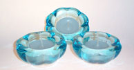 aqua glass tea light holder
