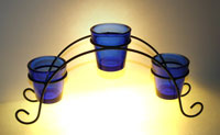 bridge votive holder, wrought iron bridge votive holders, Cobalt blue votive cups, bridge cup holder