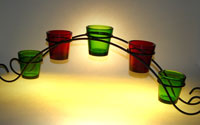 bridge votive holder, wrought iron bridge votive holders, Ruby red votive cups, bridge cup holder